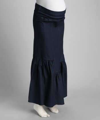 Denim Mid-Belly Ruffle Maternity Maxi Skirt