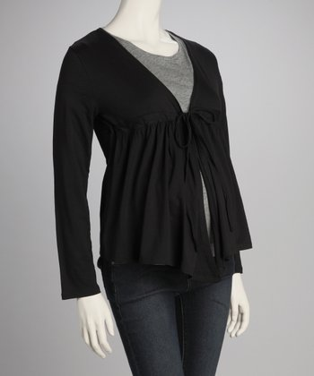 Black Maternity Gathered Cardigan