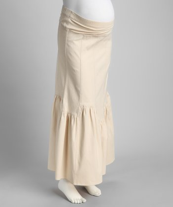 Khaki Mid-Belly Ruffle Maternity Maxi Skirt