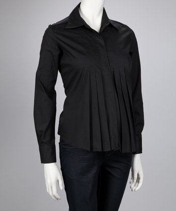 Black Pleated Maternity Button-Up Top