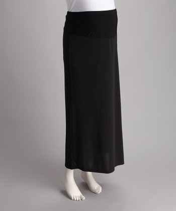 Black Slinky Maternity Maxi Skirt