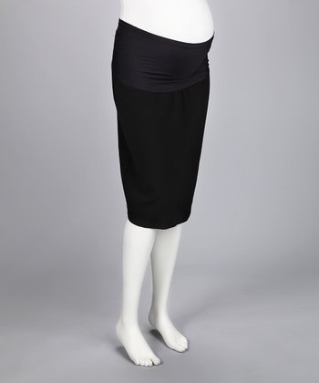 Lilo Black Mid-Belly Maternity Pencil Skirt