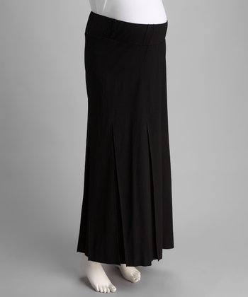 Black Long Maternity Pleated Skirt