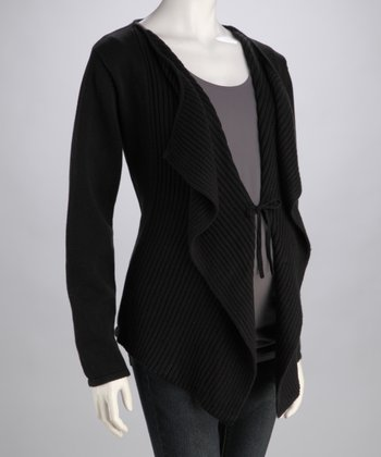 Black Ribbed Open Maternity Cardigan