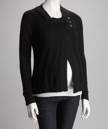 Black Three-Button Maternity Sweater