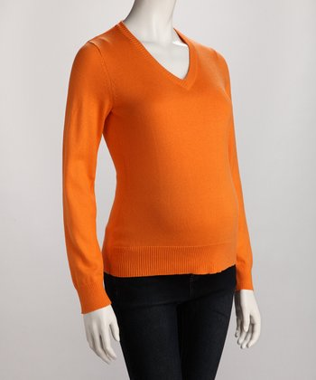 Orange Petite Maternity V-Neck Sweater