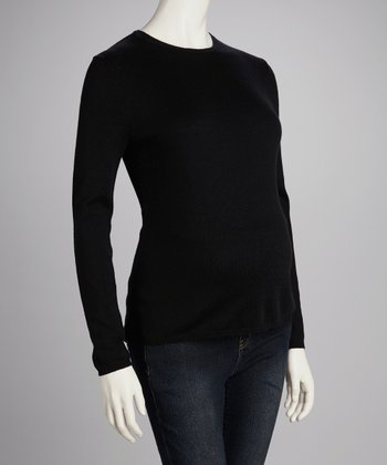 Black Maternity Crewneck Sweater