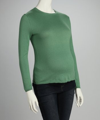Green Maternity Crewneck Sweater