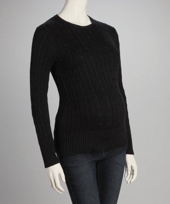Black Cable-Knit Maternity Crewneck Sweater