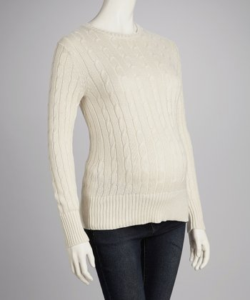 Cream Cable-Knit Maternity Crewneck Sweater