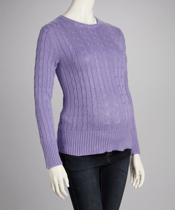 Lilac Cable-Knit Maternity Sweater