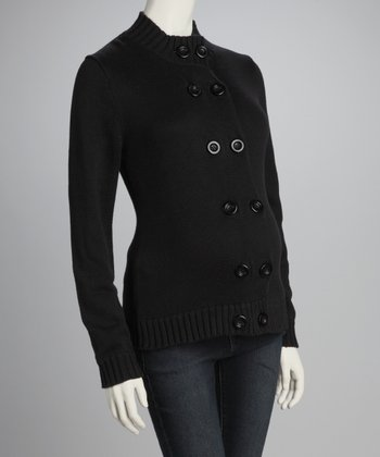 Black Double-Button Maternity Sweater