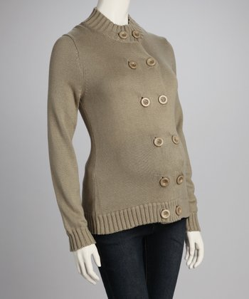 Olive Double-Button Maternity Sweater