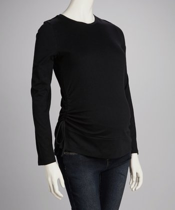 Black Maternity Ruched Tee - Women