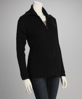 Black Ribbed Maternity Zip-Up Sweater - Women
