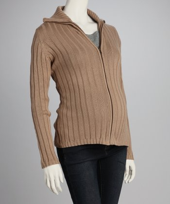 Camel Ribbed Maternity Zip-Up Sweater