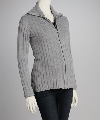 Gray Ribbed Maternity Zip-Up Sweater