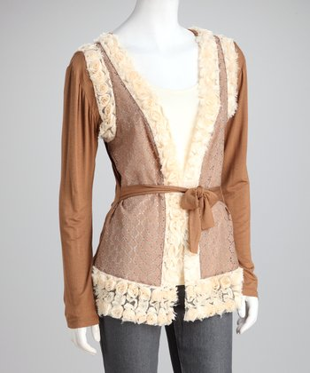 Mocha Rosette Layered Cardigan