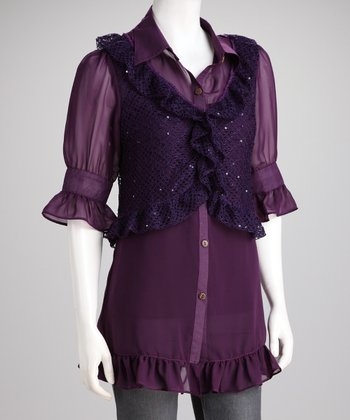 Purple Sheer Layered Tunic