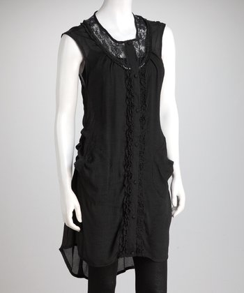 Black Ruffle Lace Dress - Women
