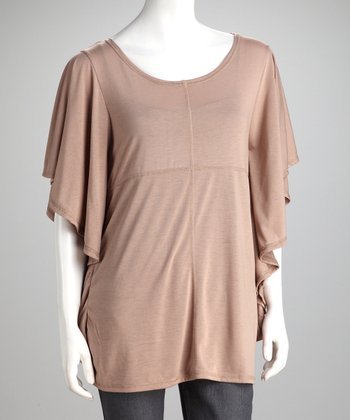 Taupe Angel Sleeve Top