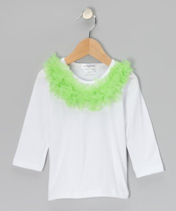 White & Lime Ruffle-Collar Tee - Toddler & Girls