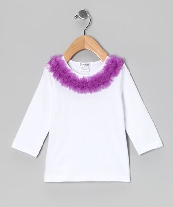 White & Purple Ruffle Collar Tee - Infant, Toddler & Girls