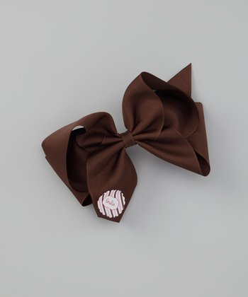 Brown & Pink Personalized Bow Clip