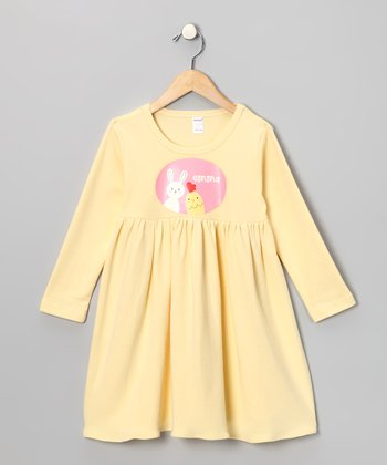 Yellow Bunny & Chick Personalized Dress - Toddler & Girls