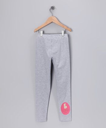 Gray Candy Canes Initial Leggings - Toddler & Girls