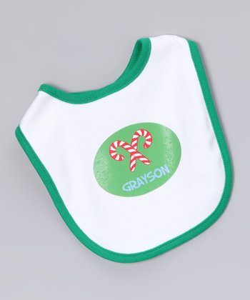 White & Green Candy Cane Personalized Bib