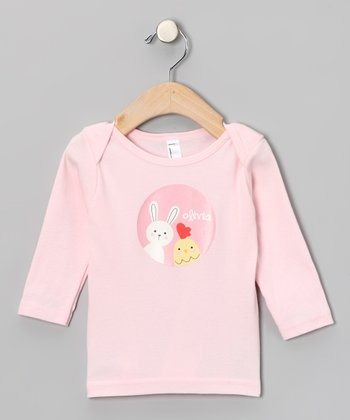 Light Pink Chick & Bunny Personalized Lapneck Tee - Infant
