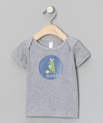 Gray Dino Easter Personalized Lapneck Tee - Infant