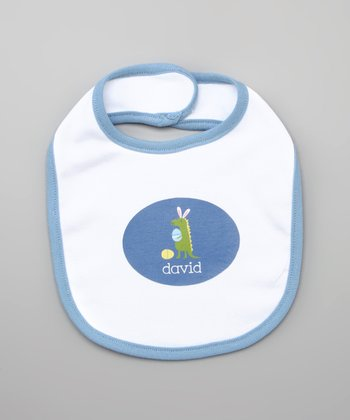 White & Blue Dino Easter Personalized Bib