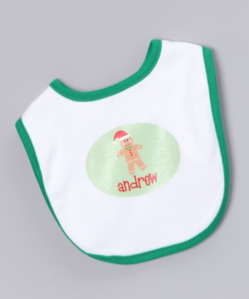 White & Green Gingerbread Boy Personalized Bib