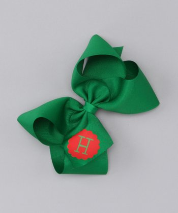 Green & Red Large Initial Bow Clip