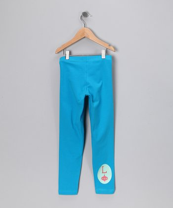 Teal Ornament Initial Leggings - Toddler & Girls