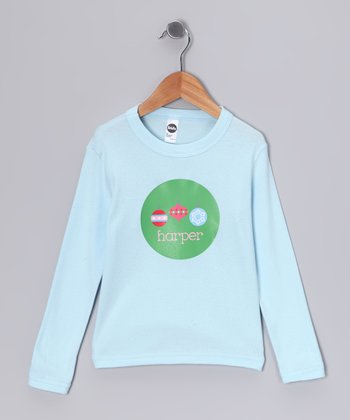 Light Blue Ornaments Personalized Tee - Infant, Toddler & Kids