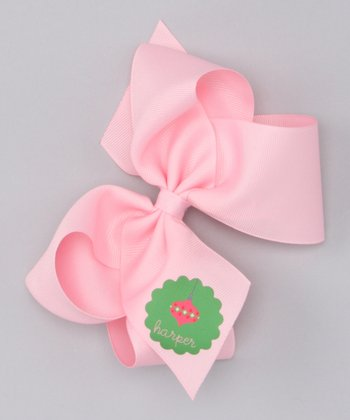 Pink Ornament Large Personalized Bow Clip
