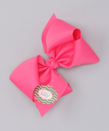 Hot Pink & Green Zigzag Extra Large Personalized Bow Clip