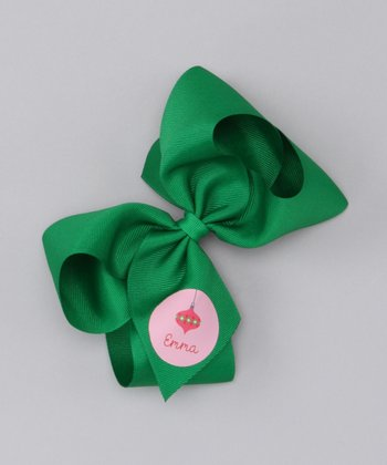 Green & Pink Ornament Large Personalized Bow Clip