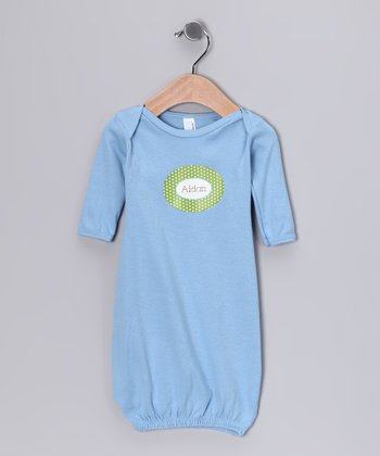 Blue Green & Blue Polka Dot Personalized Gown - Infant