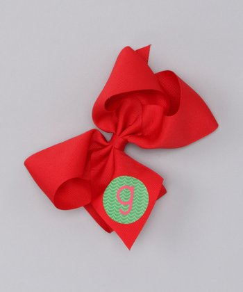 Red & Green Large Initial Bow Clip