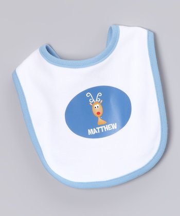White & Blue Reindeer Personalized Bib