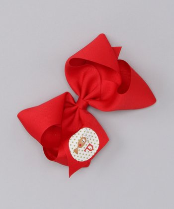 Red Reindeer Large Initial Bow Clip