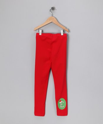 Red Santa Hat Initial Leggings - Toddler & Girls