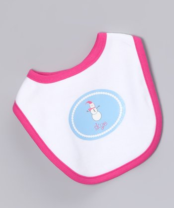 White & Hot Pink Snowgirl Personalized Bib