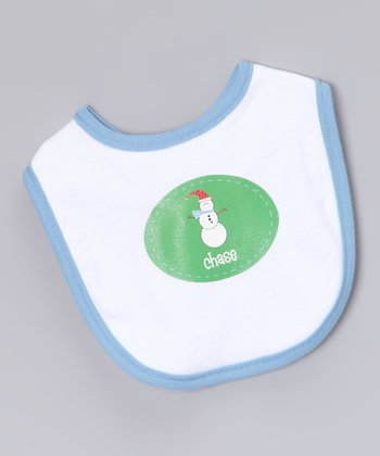 White & Blue Snowman Personalized Bib