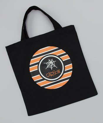 Black Spider Web Personalized Tote