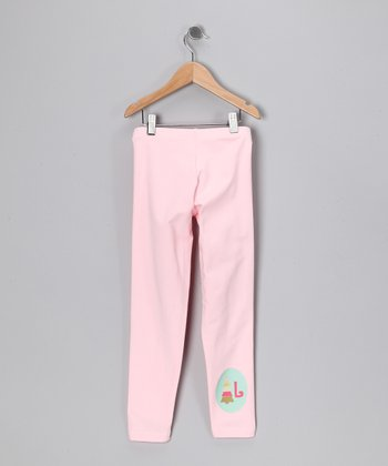 Light Pink Christmas Tree Initial Leggings - Toddler & Girls